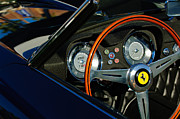 Wheel Posters - 1958 Ferrari 250 GT LWB California Spider Steering Wheel Emblem Poster by Jill Reger