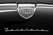 Black And White Photos Prints - 1958 Ford Fairlane 500 Victoria Hood Emblem Print by Jill Reger