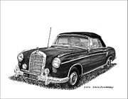 Pen And Ink Framed Prints Prints - 1958 Mercedes Benz 220S Print by Jack Pumphrey