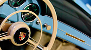 Classic Porsche 356 Photos - 1958 Porsche 356 A Speedster Steering Wheel Emblem by Jill Reger