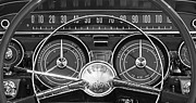 Black And White Photographs Art - 1959 Buick Lasabre Steering Wheel by Jill Reger