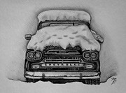 Chevrolet Truck Drawings - 1959 Chevrolet Apache by Melena Paradee