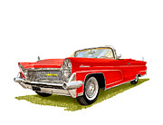 Classic Car Art Drawings - 1959 Continental Convertible by Jack Pumphrey