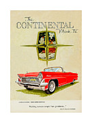 Automobile Artwork. Prints - 1959 Continental Vintage Ad Print by Jack Pumphrey