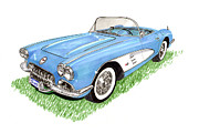 Framed Art Paintings - 1959 Corvette frost blue by Jack Pumphrey