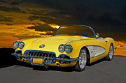 Rally Posters - 1959 Corvette Yellow Roadster Poster by Dave Koontz