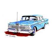 Two By Two Posters - 1959 Ford Edsel Ranger 4-door sedan Poster by Jack Pumphrey