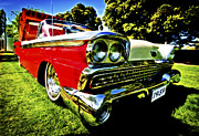 Ford Custom V8 Posters - 1959 Ford Fairlane 500 Skyliner Poster by motography aka Phil Clark