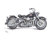 Bike Drawings Prints - 1959 Harley Davidson Panhead Print by Shannon Watts