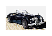 Automobile Framed Prints Painting Framed Prints - 1959 Jaguar XK 150 SS Framed Print by Jack Pumphrey