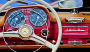 Shows Posters - 1959 Mercedes-Benz 190 SL Steering Wheel Poster by Jill Reger
