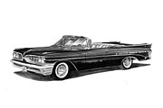 Transportation Drawings Framed Prints - 1959 Pontiac Bonneville Convertible Framed Print by Jack Pumphrey