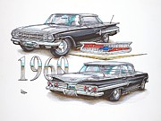 Moons Drawings Framed Prints - 1960 Chevrolet Sports Sedan Framed Print by Shannon Watts