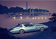 Vintage Car Drawings - 1960 DESOTO  vintage styling design concept painting Paris by John Samsen