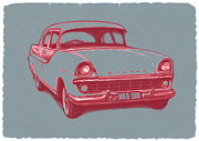 Sloping Prints - 1960 FB Holden car art sketch poster Print by Kim Wang