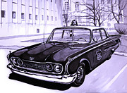 Patrol Car Painting Framed Prints - 1960 Ford Fairlane Police Car Framed Print by Neil Garrison
