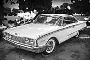 1960 Prints - 1960 Ford Starliner BW Print by Rich Franco