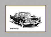 1960 Drawings Posters - 1960 Plymouth Fury Poster by Jack Pumphrey