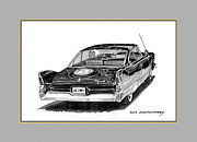1960 Drawings Posters - 1960 Plymouth Fury Rear view Poster by Jack Pumphrey
