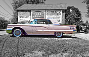 Classic Ford Posters - 1960 Thunderbird bw Poster by Steve Harrington