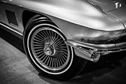 Sportscar Art - 1960s Chevrolet Corvette C2 in Black and White by Paul Velgos