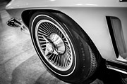 White Chevy Prints - 1960s Chevrolet Corvette C2 Spinner Wheel Print by Paul Velgos