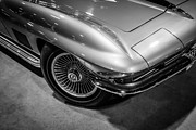 Tire Framed Prints - 1960s Corvette C2 in Black and White Framed Print by Paul Velgos
