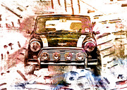 Small Digital Art Framed Prints - 1960s Mini Cooper Framed Print by David Ridley