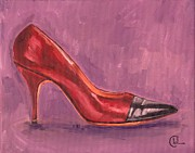 1950s Fashion Painting Prints - 1960s Red High Heel  Print by Cecely Bloom