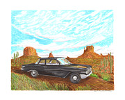 Chevrolet Paintings - 1961 Chevrolet Biscayne 409 in Monument Valley by Jack Pumphrey