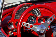1961 Posters - 1961 Chevrolet Corvette Steering Wheel 2 Poster by Jill Reger
