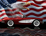 American Flag Framed Prints - 1961 Corvette Tribute Framed Print by Peter Piatt