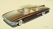 Muscle Mixed Media Metal Prints - 1961 DESOTO  vintage styling design concept rendering sketch Metal Print by John Samsen