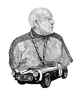 Framed Prints Drawings Prints - 1961 Ferrari GT 250 Sir Stirling Moss  Print by Jack Pumphrey