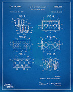 1961 Lego Brick Patent Artwork - Blueprint Print by Nikki Marie Smith