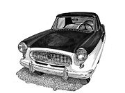 Framed Art Paintings - 1961 Nash Metro in black white by Jack Pumphrey