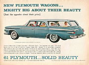 Rally Digital Art Posters - 1961 Plymouth Wagon Poster by Nomad Art And  Design