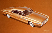 Muscle Car Art Prints - 1962 DESOTO  vintage styling design concept rendering sketch Print by John Samsen