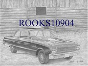 Log Cabin Art Mixed Media - 1962 Ford Falcon CLASSIC CAR ART PRINT by Stephen Rooks