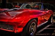 Red Street Rod Posters - 1963 Chevy Corvette Poster by David Patterson