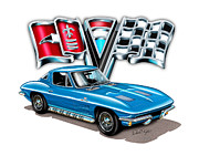 1963 Digital Art Posters - 1963 Corvette Split Window in Blue Poster by David Kyte