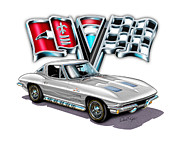 1963 Digital Art Posters - 1963 Corvette Split Window in Silver  Poster by David Kyte