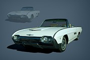 1963 Posters - 1963 Ford Thunderbird Convertible Poster by Tim McCullough