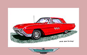 Early Mixed Media Posters - 1963 Ford Thunderbird Poster by Jack Pumphrey