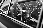 Classic Porsche 356 Photos - 1963 Porsche 356 B 1600 Coupe Steering Wheel Emblem by Jill Reger