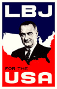 President Of The Usa Paintings - 1964 LBJ for the USA by Historic Image