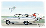 Muscle Car Prints - 1965 BARRACUDA  classic Plymouth muscle car Print by John Samsen
