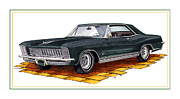 Classic Car Drawings Posters - 1965 Buick Riviera Custom Poster by Jack Pumphrey