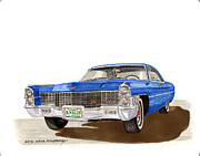 Pen And Ink Framed Prints Paintings - 1965 Cadillac DeVille Sedan by Jack Pumphrey
