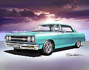 Sports Cars Paintings - 1965 Chevelle ss by Danny Whitfield